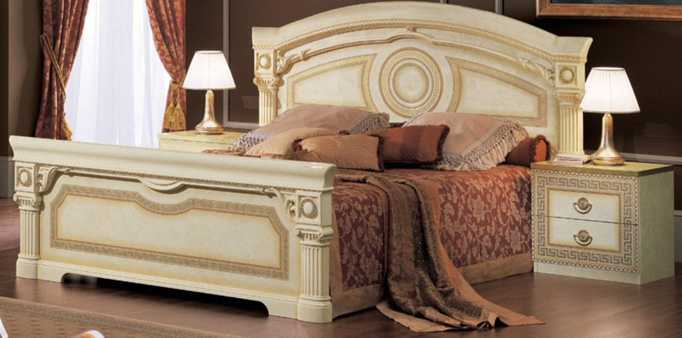 ITALIAN BED AIDA (IVORY/GOLD)