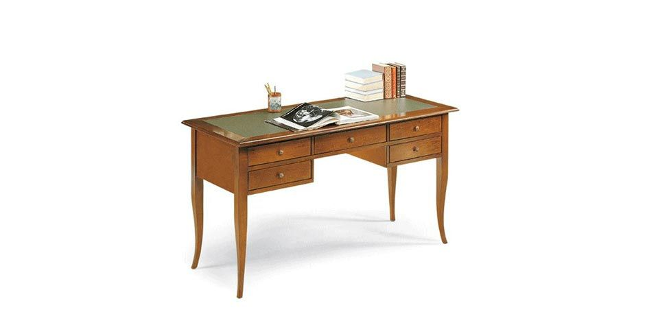 WRITING DESK WITH ECO LEATHER ON TOP (D130)