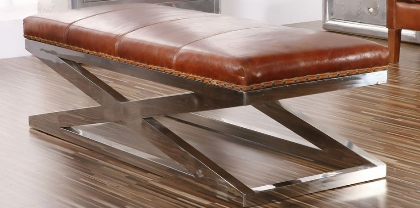LEATHER STOOL (0011) BENCHES & OTTOMANS