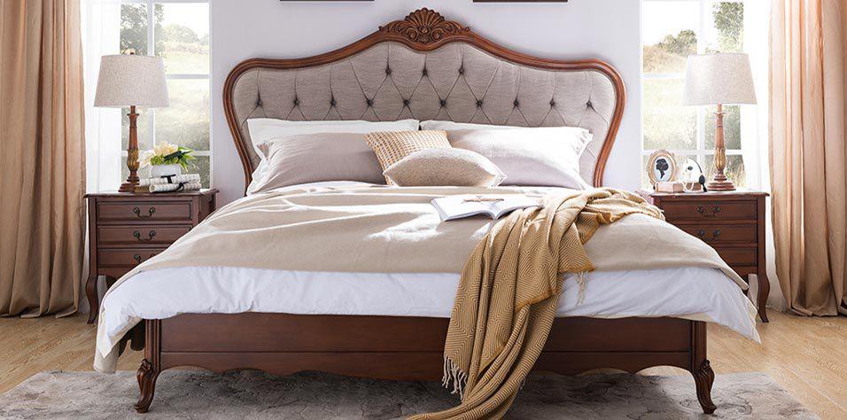 WALNUT DOUBLE BED (W110)