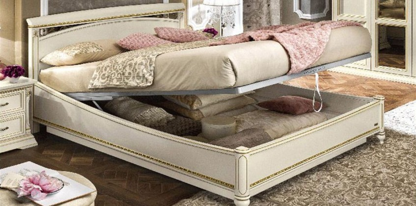 BED WITH STORAGE SPACE (WHITE ASH TREVISO) BED