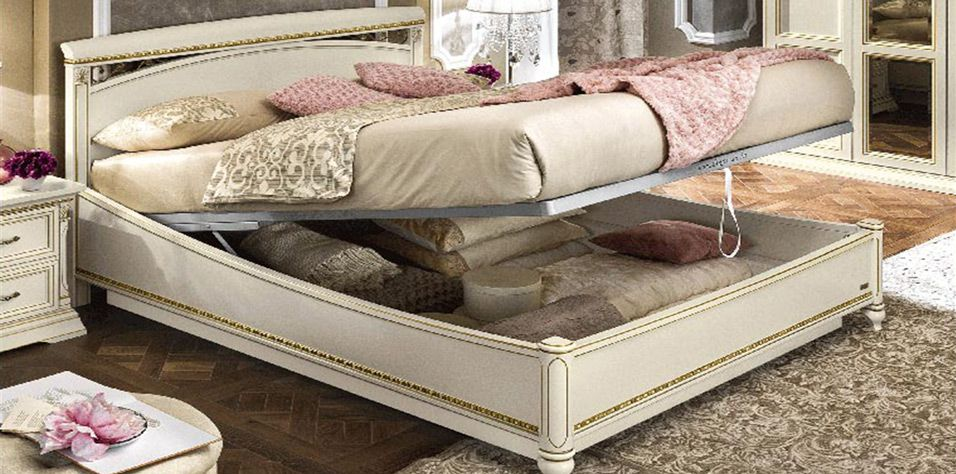 BED WITH STORAGE SPACE (WHITE ASH TREVISO)